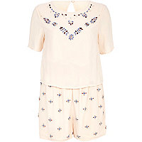 Light pink embellished 2 in 1 playsuit