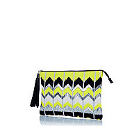 Lime chevron embellished clutch bag