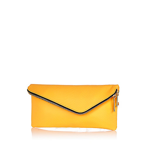 Orange asymmetric zip clutch bag