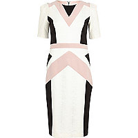 Cream colour block geometric pencil dress