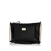 Black woven cross body bag