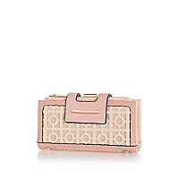 Light pink laser cut tab top purse