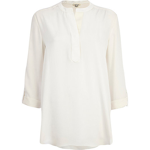 Cream collarless roll sleeve shirt