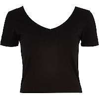 Black V neck fitted top