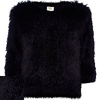 Black fluffy 3/4 sleeve jumper