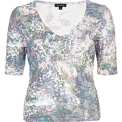 White floral sequin embellished t-shirt