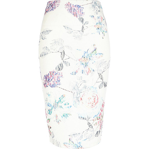 White faded flower print pencil skirt