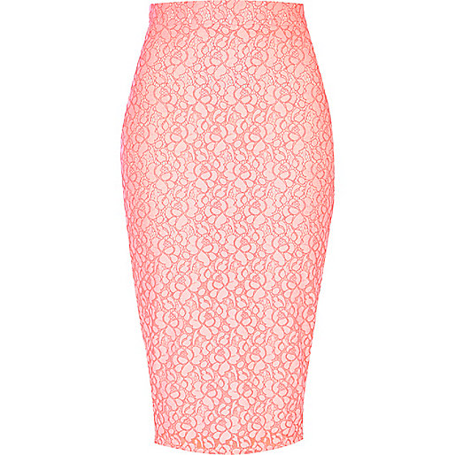 Fluro pink floral lace overlay pencil skirt