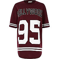 Dark red Hollywood 95 print sweat dress