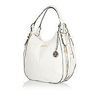 White zip trim slouch bag