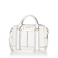 White panelled bowler bag