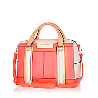 Pink colour block bowler bag