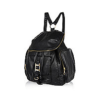 Black zip trim rucksack