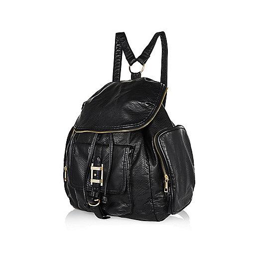 Black zip trim rucksack