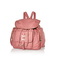 Pink zip trim rucksack