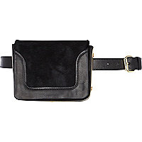 Black leather bumbag belt