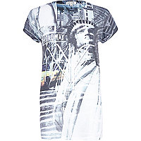 White NYC Statue of Liberty print t-shirt