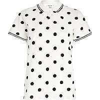 White polka dot print polo shirt