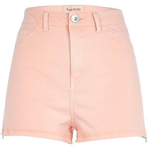Light orange high waisted stretch shorts