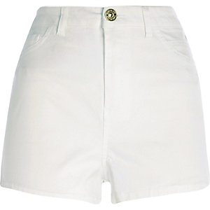 White high waisted Nori denim shorts