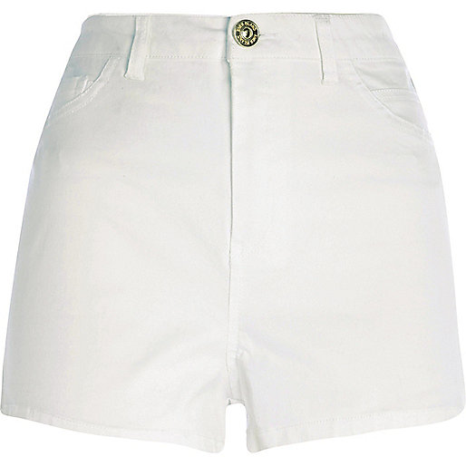 White high waisted stretch shorts