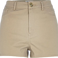 Beige high waisted stretch shorts