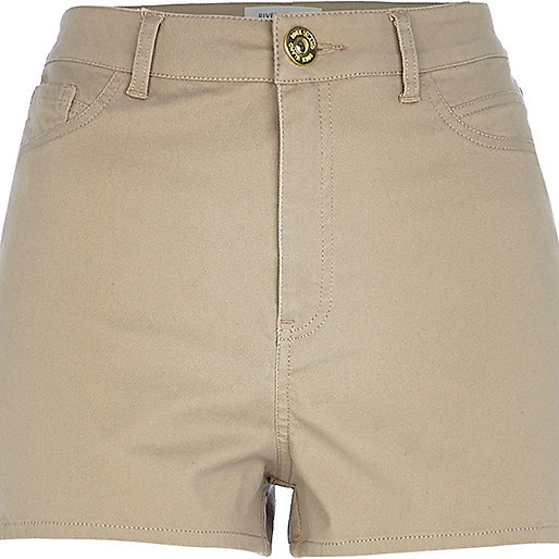 Beige high waisted stretch shorts