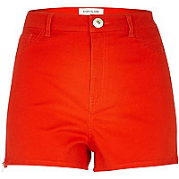 Red high waisted stretch shorts