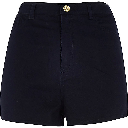 Navy blue high waisted stretch shorts
