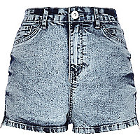 Acid wash high waisted Nori denim shorts