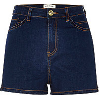 Raw wash high waisted stretch denim shorts