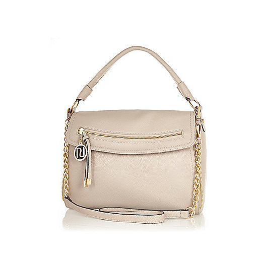 Light grey fold over slouch bag