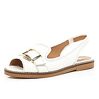 White buckle trim loafer sandals