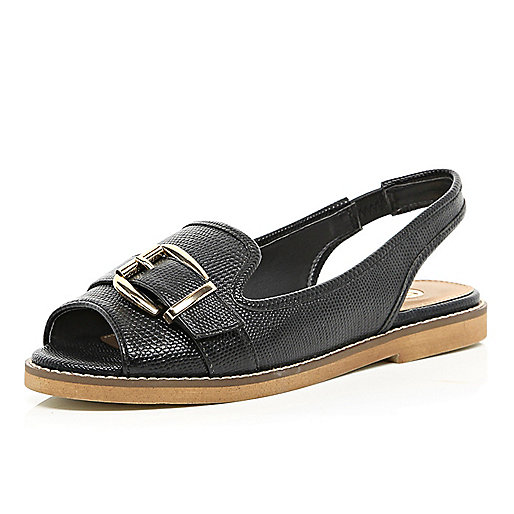 Black buckle trim loafer sandals
