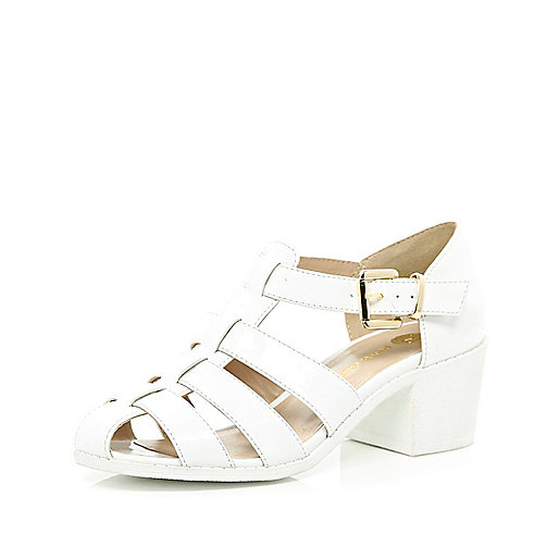 White block heel strappy shoes