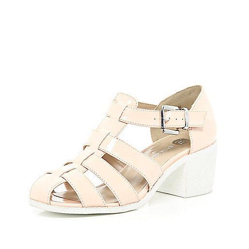 Light pink block heel strappy shoes