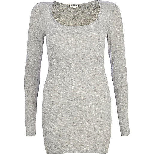 Grey marl ribbed longline top