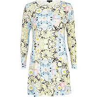 Yellow textured floral web print swing dress