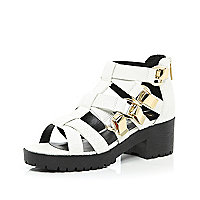 White chunky strap cleated sole sandals