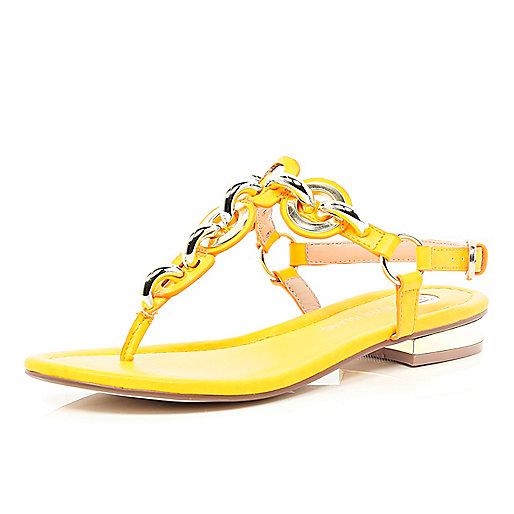Orange chain T bar sandals
