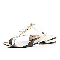 White metal trim toe loop sandals