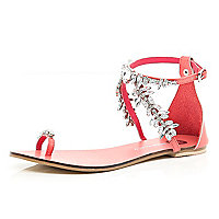 Coral diamante embellished sandals