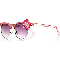 Pink flower trim retro sunglasses