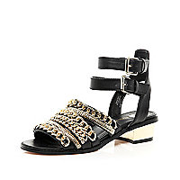 Black chain trim block heel sandals