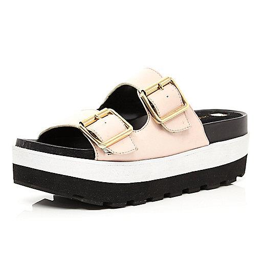 Light pink flatform mule sandals