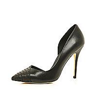 Black snake toe cap asymmetric court shoes