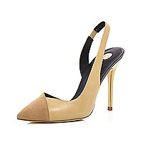 Beige asymmetric sling back court shoes