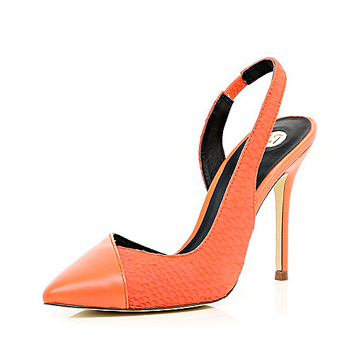 Coral asymmetric sling back court shoes