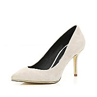 Light pink metal trim court shoes