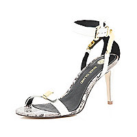 White snake midi heel barely there sandals